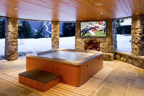 Outdoor TV cabinet by your spa pool