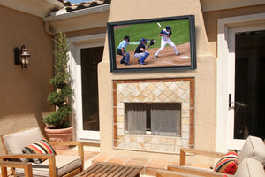 Outdoor TV cabinet above your outdoor fireplace