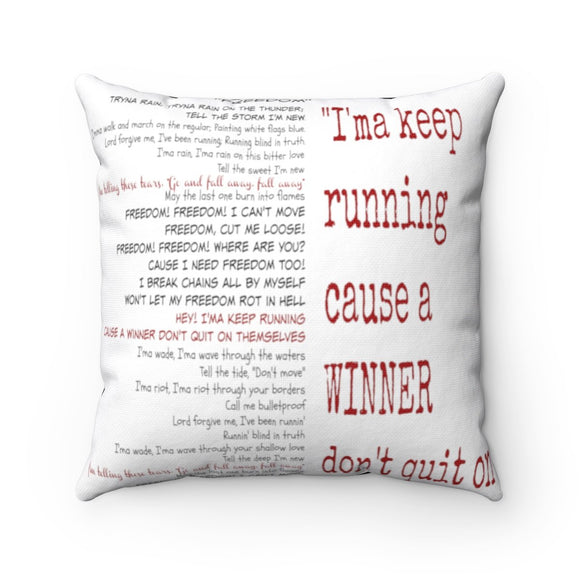 Accent Pillow-Classic Song Lyrics Split-Red - BeTheLightCo