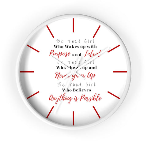 Cute Dorm Clock, Be that girl, Clock for Dorm, Red Dorm Clock, Red Dorm Decor, Cute Dorm Decor, Dorm Wall Clock, Dorm Room Decor,Girls Decor
