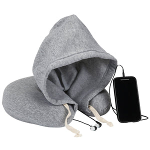 Memory Foam Travel Neck Pillow With Hood and Built-in Ear Buds