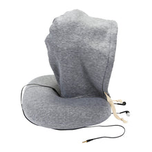 Load image into Gallery viewer, Memory Foam Travel Neck Pillow With Hood and Built-in Ear Buds