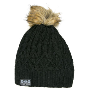 Bluetooth Beanie W/ Faux Fur Pom