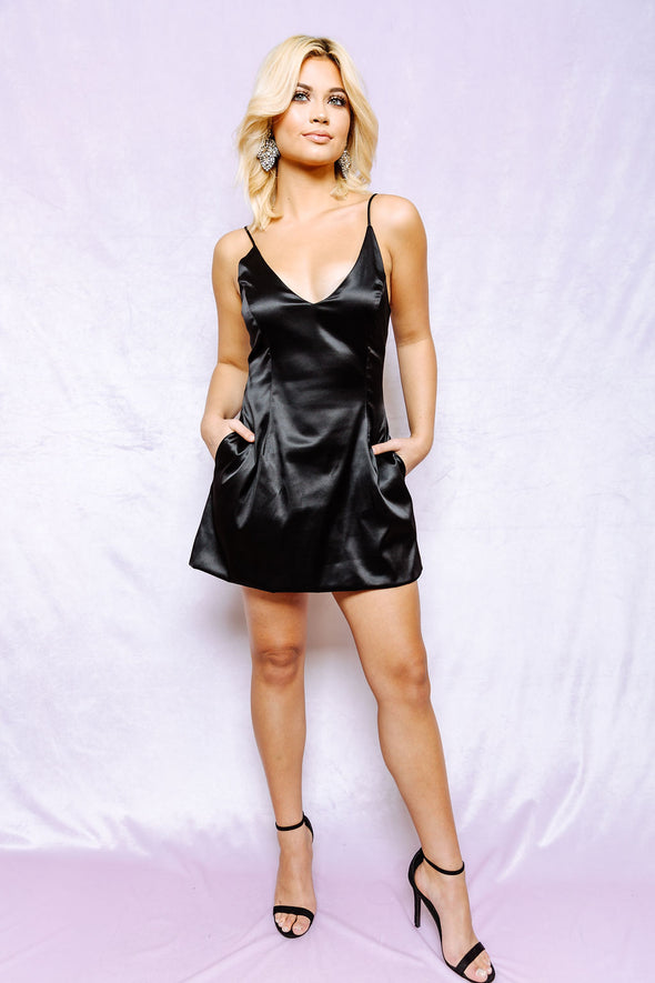 Sassy Satin black dress