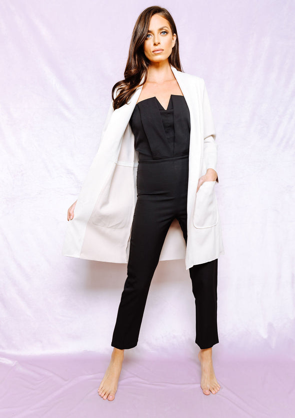 Chilly out Ivory long coat