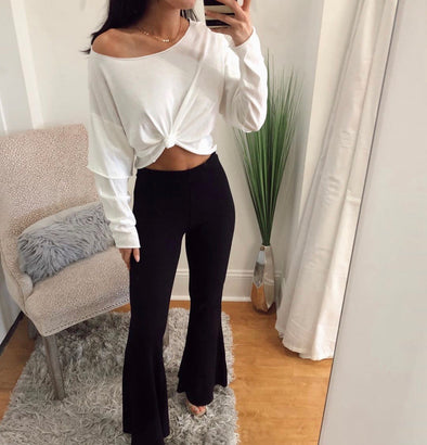 Black Ribbed Flares