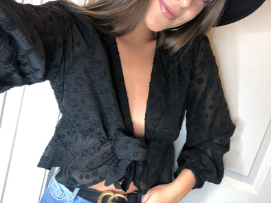 Lulu black tie top