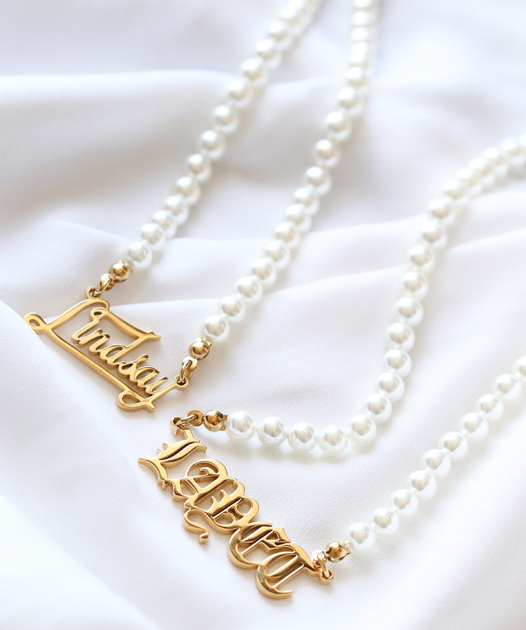 Personalised Name Plate Pearl Chain - Taimana Boutique