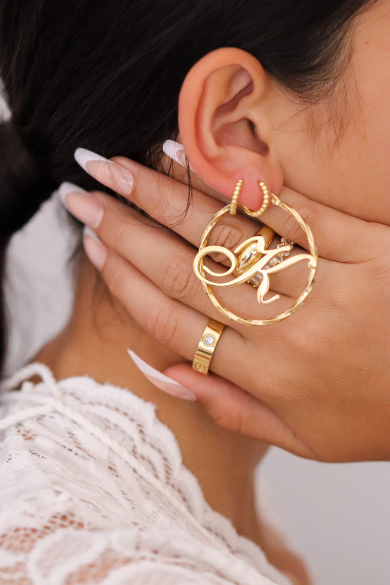 PERSONALISED INITIAL HOOP EARRINGS - Taimana Boutique