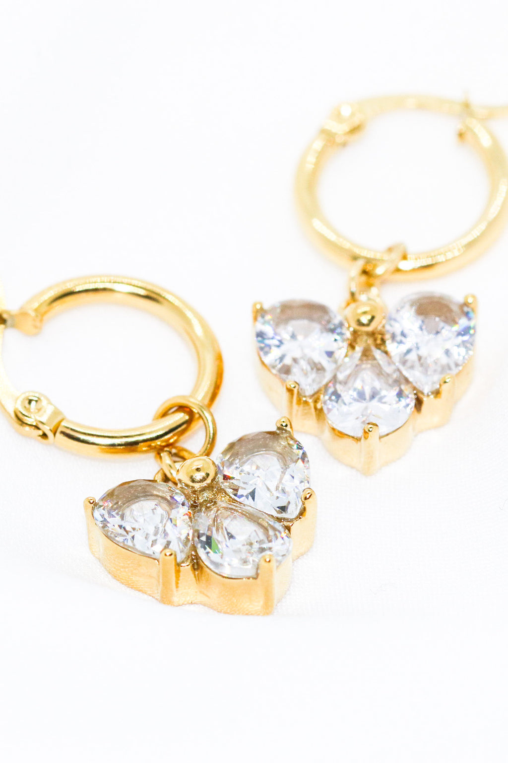 CRYSTAL HEART HOOPS - Taimana Boutique