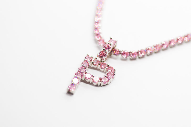 PINK ICED LETTER TENNIS CHAIN - Taimana Boutique
