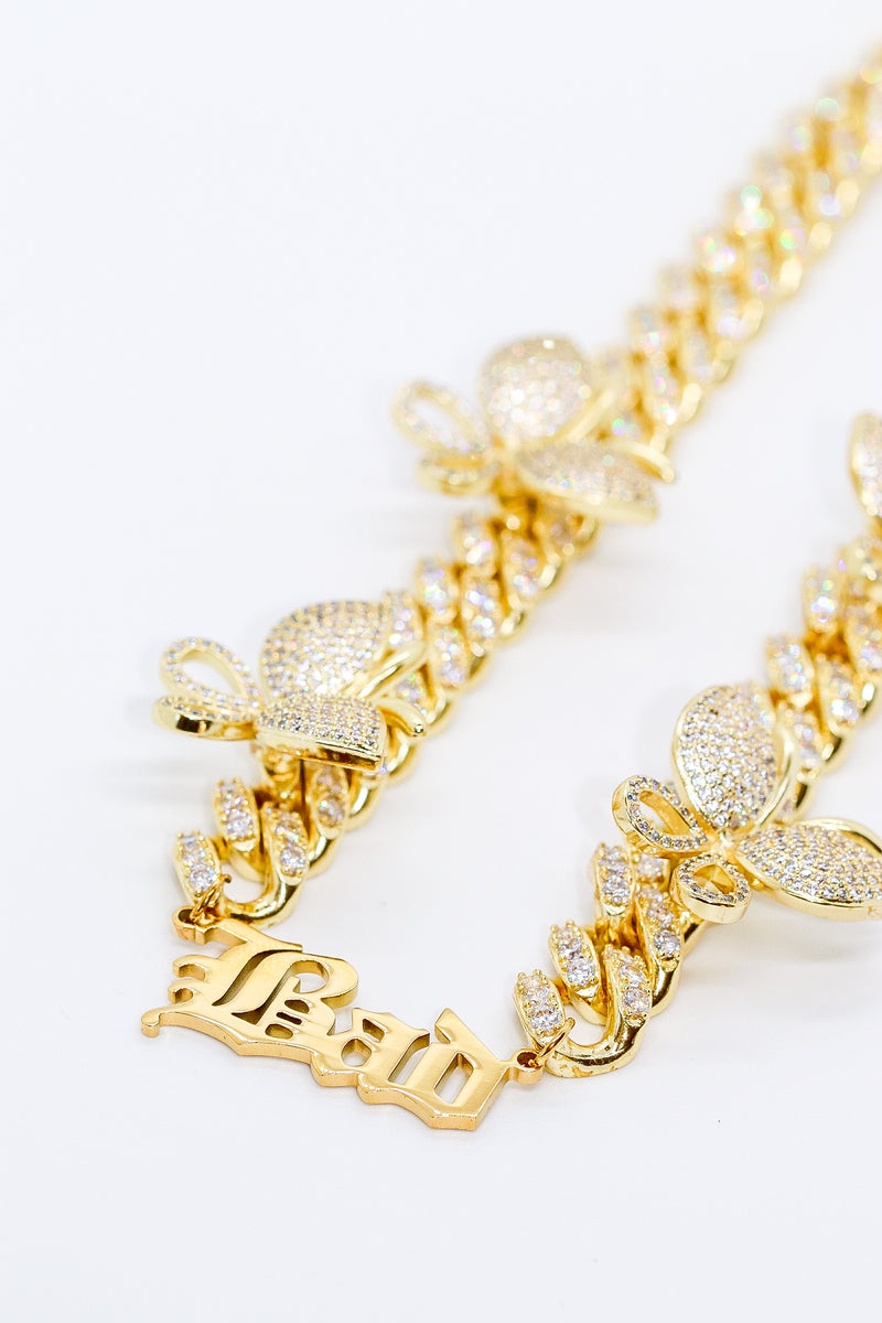 Personalised Butterfly Cuban Chain - Taimana Boutique