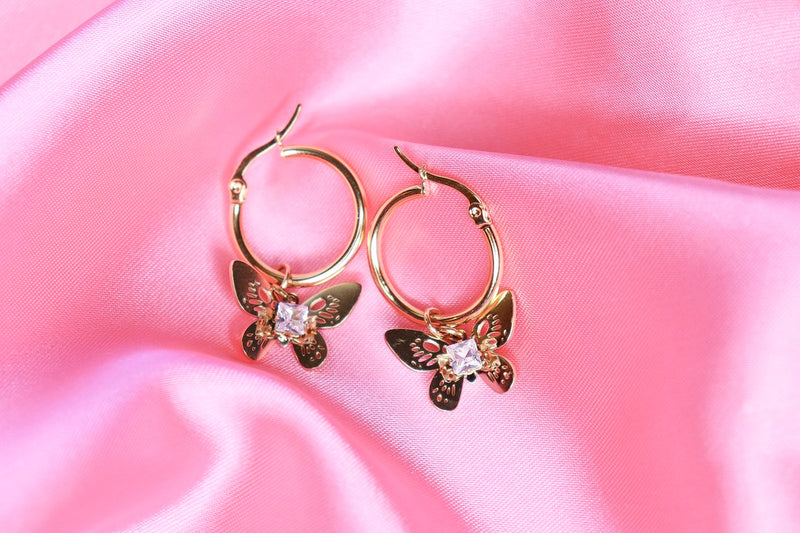 EVELYN BUTTERFLY HOOPS - Taimana Boutique