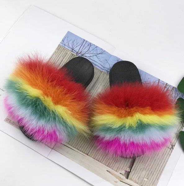 Rainbow Fur Slides (4629768798289)