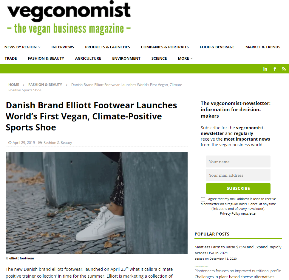 Danish Brand Elliott Footwear Launches World's First Vegan, Climate-Positive Sports Shoes