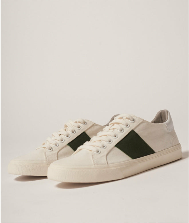 canvas white/green shoes