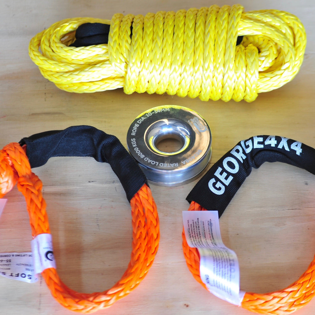 4W Recovery Rope Kit: Extension Towing Rope 10mm*9.2T + Soft Shackle  With Snatch Ring