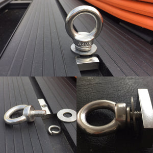Roof Rack Tie Down Lashing Points Eye Bolt + Sliding Nut + Washers for Platform Roof Rack