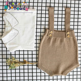 Boy Knit Cotton Sleeveless Overalls