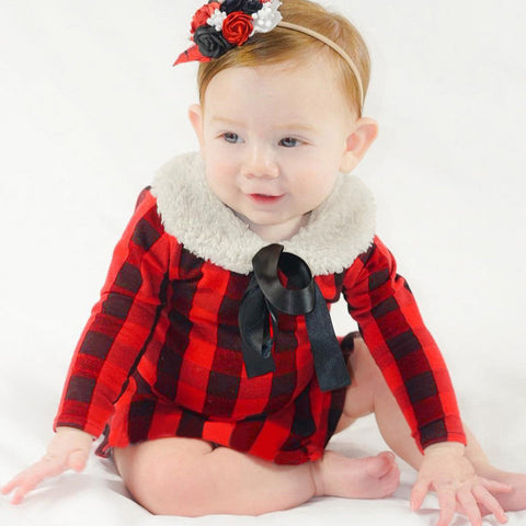 Baby Long Sleeve  Plaid Playsuit