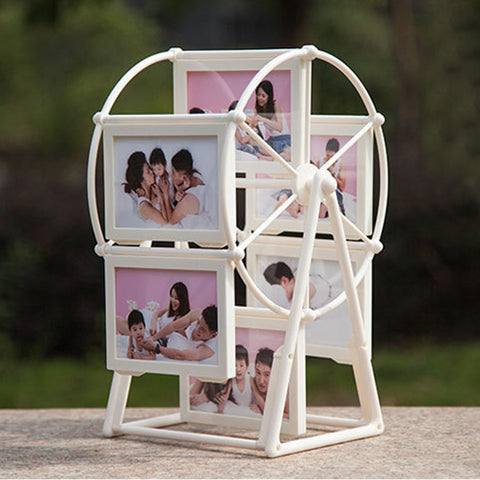 5 Inch 12 Photos Rotating Ferris Wheel Windmill Shape Photo Picture Frame for Baby Shower Christmas Wedding Gifts Home Art Decor