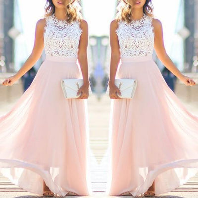 e2b2e0d1049 Pink Lace Draped Flowy Beach Boutique Holiday Bridesmaid Party Tulle Maxi  Dress