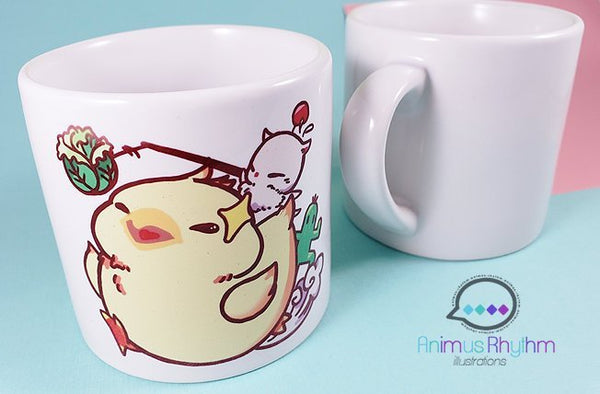 6oz Sublimation Ceramic Mug: Fat Chocobo Final Fantasy FF14
