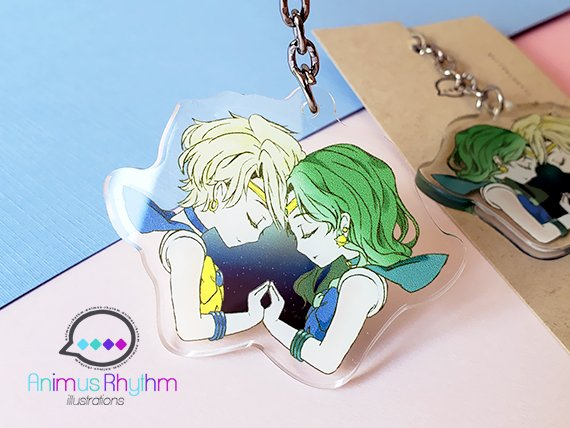 Crystal Clear Acrylic Keychain: Sailor Uranus and Neptune Double sided 2in