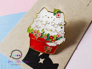 Cat Pot Hard Enamel Pin cute kitty kitten flower button brooch animal cats