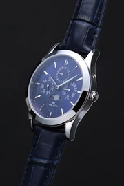 Stainless Steel with Blue Dial