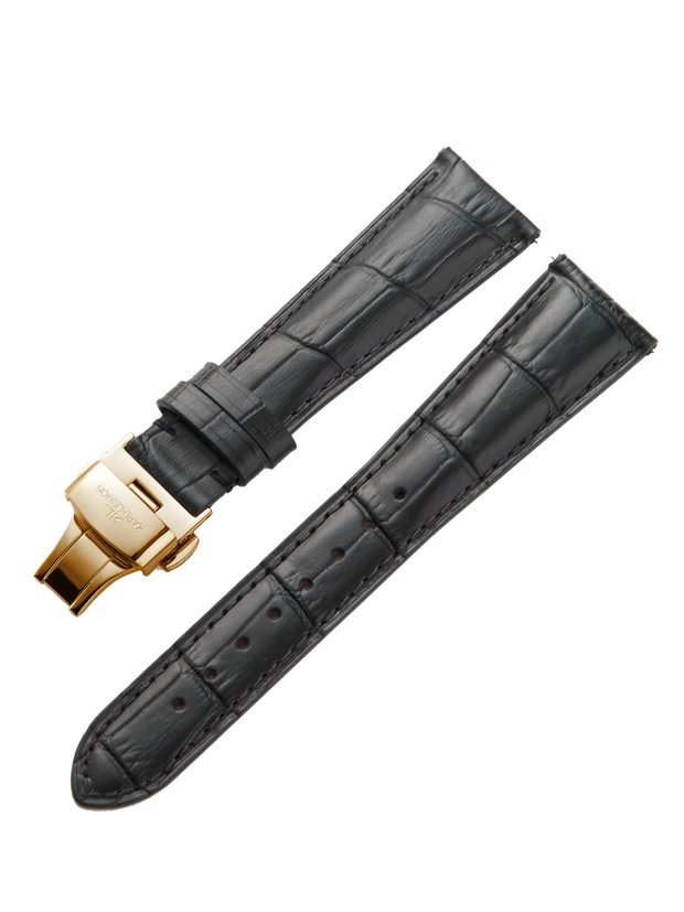 Black Leather Gold Strap D-Buckle