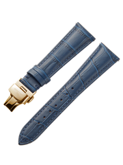 Blue Leather Gold Strap D-Buckle