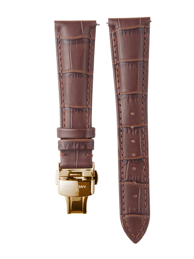 Brown Leather Gold Strap D-Buckle