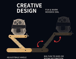 3D Wooden Owl Decor Lamp