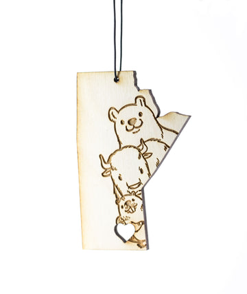 Animals Manitoba Heart – Rescentable Wood Car Air Freshener