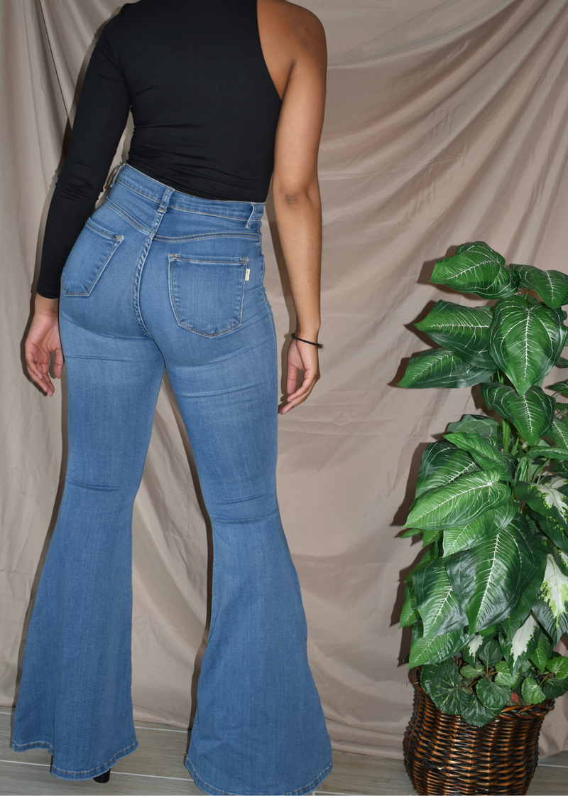 Fiesty Flare High Waisted Dark Blue Jeans