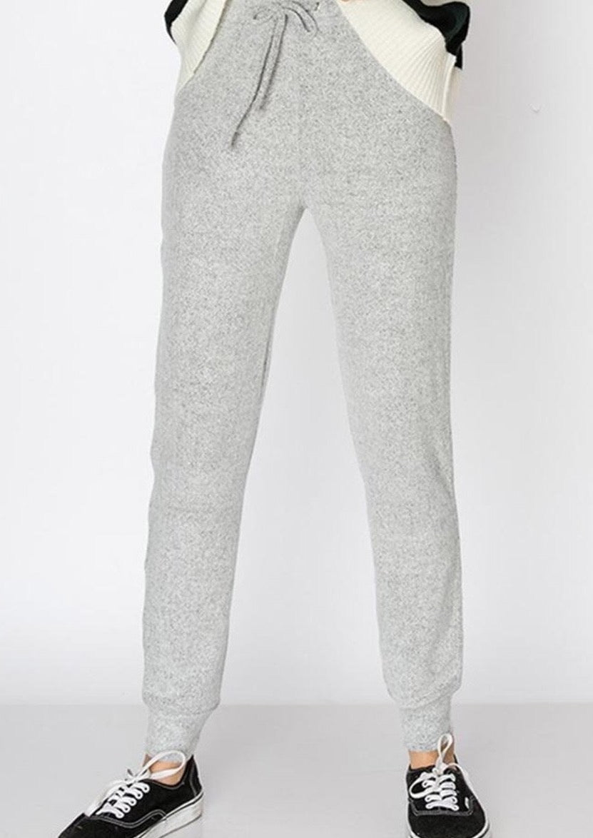 Fuzzy Feel Good Sweatpants (Light Grey)