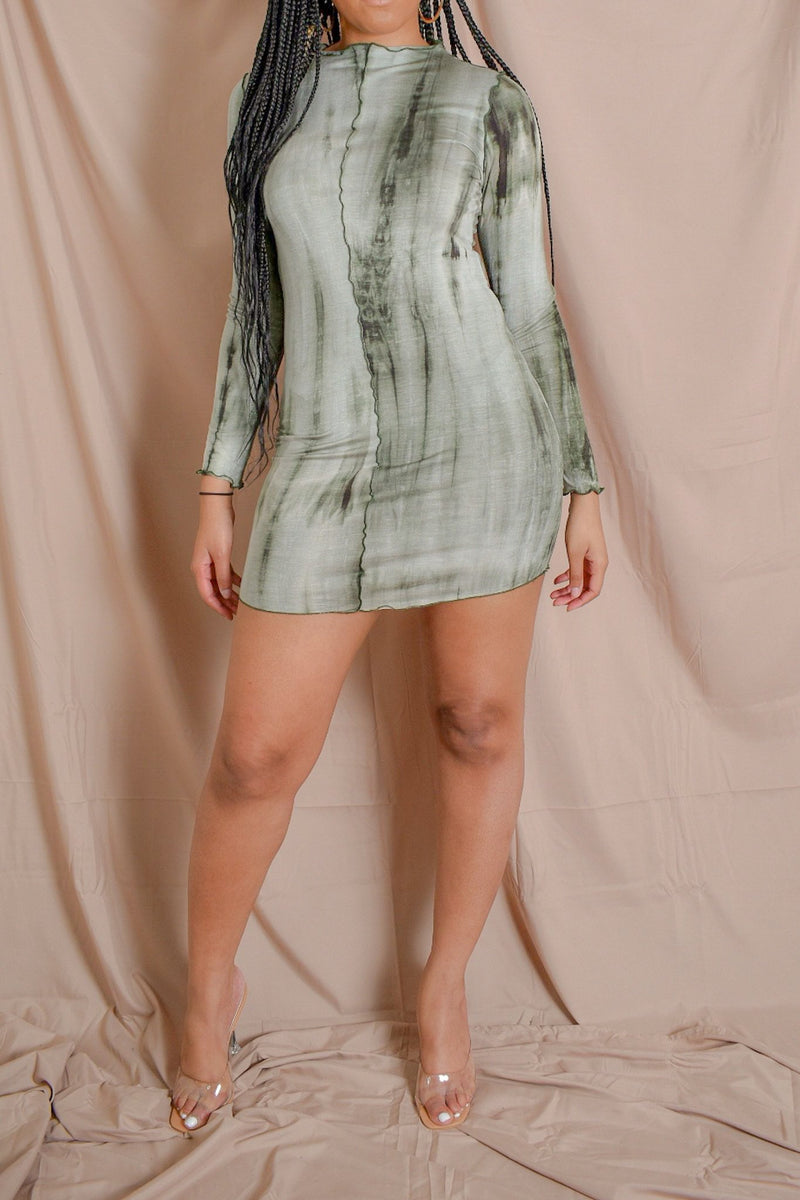 Sage Babe Tie-Dye High-Neck Dress