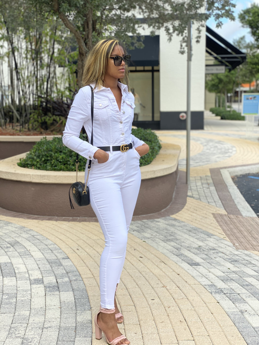 Hot Girl Jeans Jumpsuit (White)