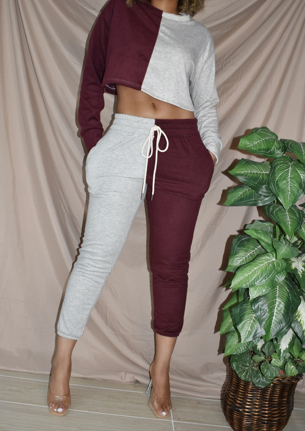 Burgundy Mixed Signals Sweatpants Set