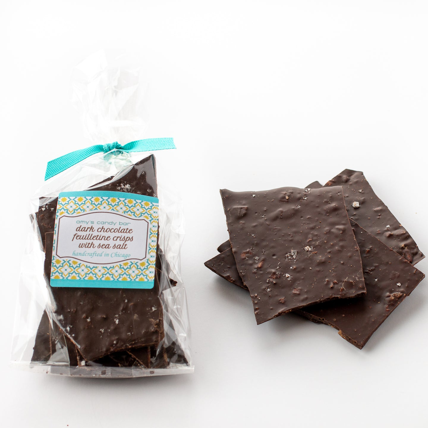 Dark Chocolate Feuilletine Crisps with Sea Salt Amy's Candy Bar Chicago
