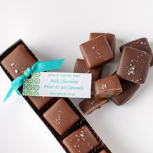 Load image into Gallery viewer, Milk and Dark Chocolate Fleur de Sel Caramels Amy's Candy Bar Chicago