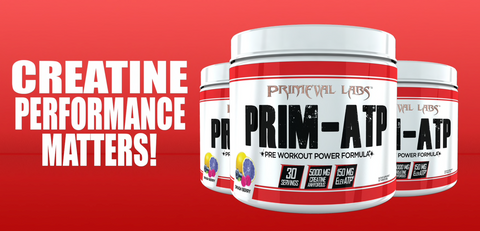 Primeval Labs Prim-ATP contains 5 grams of creatine anhydrous and 150mg elevATP per serving.