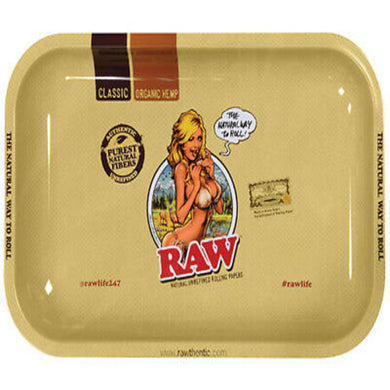 RAW Girl Metal Rolling Tray - Large (13.25x10.75