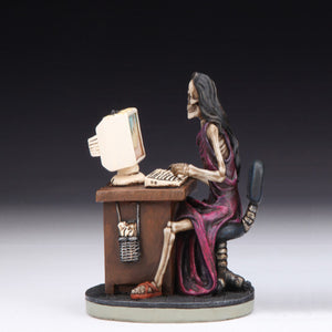 "Skeleton Lady On Computer Figurine (4.5"")"