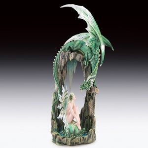 "Green Dragon and Fairy with Stone Arch Statue (20.5"")"