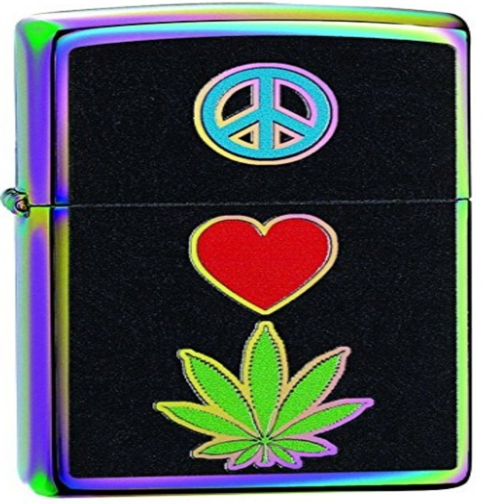 Peace, Love, and Leaf Zippo Lighter