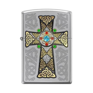 Celtic Cross With Stone Zippo Lighter