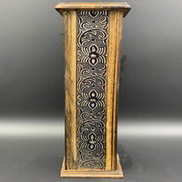 Mango Wood Floral Standing Tower Incense Burner - Shag Alternative Superstore