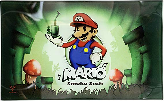 Mario Smoke Sesh Glass Rolling Tray - Medium - Shag Alternative Superstore